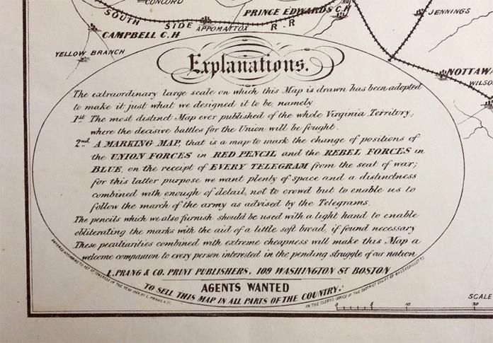 "Detail of War Telegram Marking Map. Showing ""Explanation"" written by publisher L. Prang."