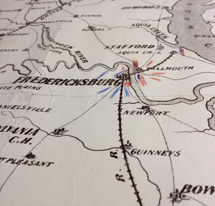 Detail of War Telegram Marking Map. Showing troop movements near Fredericksburg.