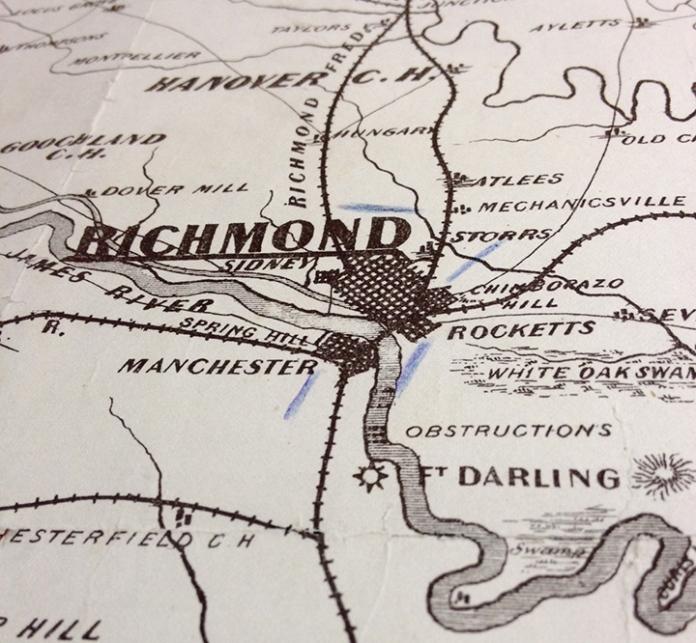 Detail of War Telegram Marking Map. Showing troop movements near Richmond, Va.