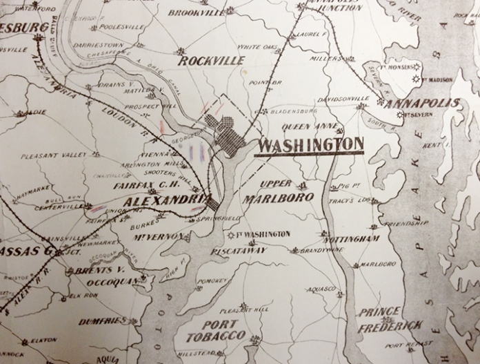 Detail of War Telegram Marking Map. Showing troop movements of Union and Confederate forces near Washington, DC and Alexandria, VA.