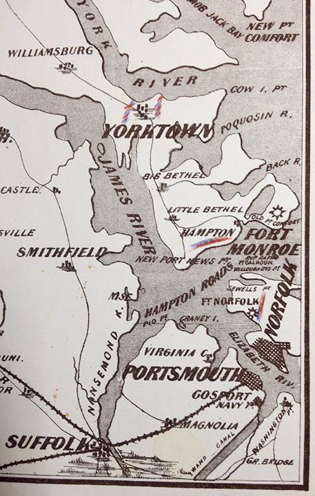 Detail of War Telegram Marking Map. Showing troop movements near Yorktown, VA.
