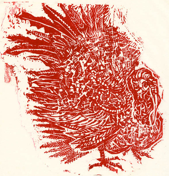 "Turkey. By Su-Li Hung. Woodcut, 1978. Edition 50. Image size 10 5/8 x 10 7/8"" (273 x 278 mm). LINK."
