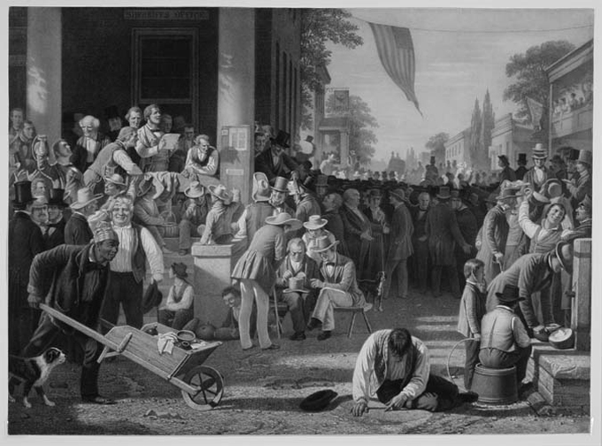 "The Verdict of the People. By George Caleb Bingham. Lithograph, 1858-59. Paper size 21 5/8 x 29 3/4"" (549 x 755 mm). E. Maurice Bloch in George Caleb Bingham: A Catalogue Raisonne states that only two impressions of this print are known and both are proofs before title.  The two known impressions in the 1967 catalogue were in the collection of Mrs. A. S. Colgate of Tuxedo Park, N.Y. (that impression is currently in the Amon Carter Museum in Fort Worth, Texas) and in the Estate of Curtis B. Rollins, Columbia, Missouri (location of that impression is unknown)."