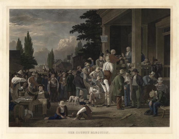 "The County Election. George Caleb Bingham. Published by Goupil & Co., New York, Paris, London. Stipple and line engraving,1854. Engraved by John Sartain. Image size 22 1/4 x 30"" (564 x 760 mm) plus wide margins. LINK."