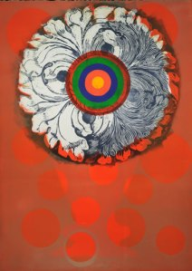 Target Bloom II. Susan Goldman. Monotype with woodcut, 2014.