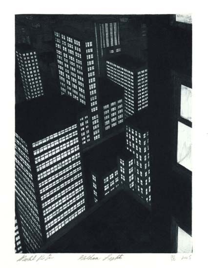 Gotham Lights. Michael Di Cerbo. Etching, aquatint, and drypoint, 2005. Image size 11 7/8 x 8 13/16 inches. LINK.  Edition 50. Signed, titled, and dated in pencil by artist. Micahel DiCerbo is a NEw York City based artist. Di Cerbo has turned his sense of urban grandeur into geometric forms with patterns of light and dark that allude to the soaring architecture of skyscrapers. One sees the city from the perspective of both an ant and eagle, moving endlessly upward or falling away to infinite chasms below. The images, though devoid of people and any overt sign of life, create an ambiance of mystery. One may find themselves alone in a composition as an observer of a timeless cityscape.