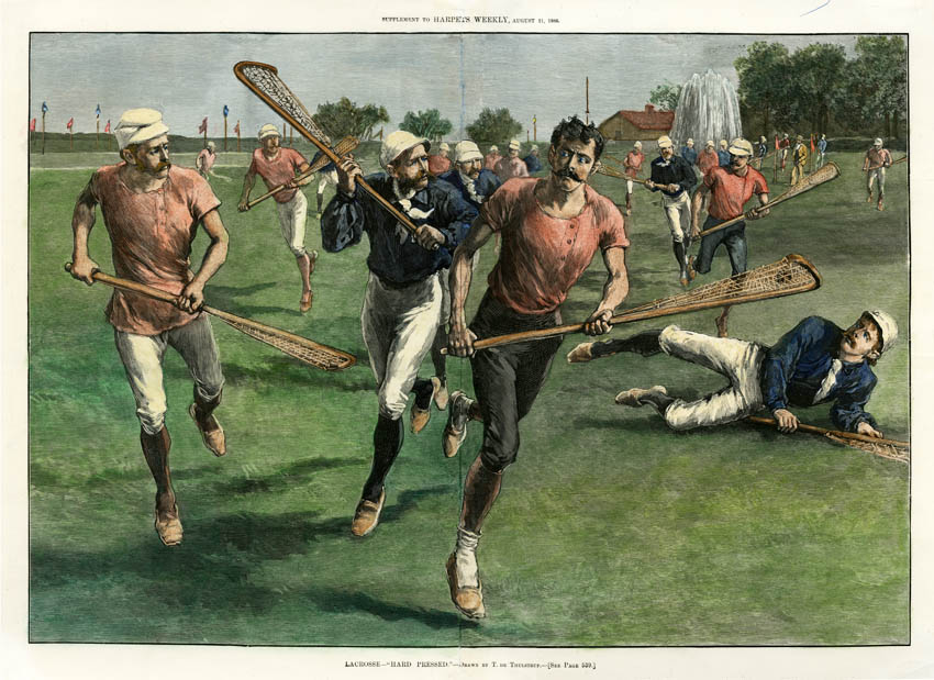 "Lacrosse.  ""Hard Pressed."" T. de Thulstrup. Published by Harper's Weekly, New York. Wood engraving, Aug 21, 1886. Image size 13 3/4 x 19 7/8"" (348 x 506 mm.). LINK.  Lacrosse, today a popular team sport in North America, may have developed as early as 1100 AD among indigenous peoples on the continent. By the seventeenth century, it was well-established. It was documented by Jesuit missionary priests in the territory of present-day Canada, although the game has undergone many modifications since that time."