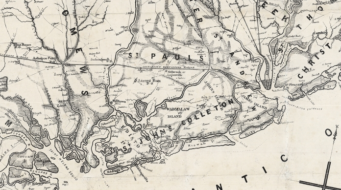 (detail of) Map of the Seat of War, in South Carolina, and Georgia. Published & Lithographed by Evans & Cogswell. Lithograph, c.1861.  LINK.