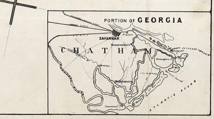 "(detail of) Map of the Seat of War, in South Carolina, and Georgia. Published & Lithographed by Evans & Cogswell. Lithograph, c.1861.  LINK. A detailed look at  the inset map,  ""Portion of Georgia."""