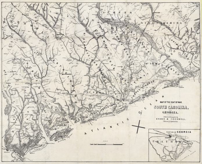 "Map of the Seat of War, in South Carolina, and Georgia. Published & Lithographed by Evans & Cogswell, 3 Broad St, Charleston. S.C. Lithograph, c.1861. Image size 20 1/2 x 25 5/8"" (521 x 650 mm) plus margins. LINK."
