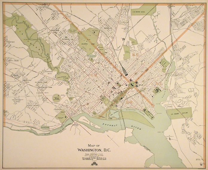"Map of Washington, D.C.  George H. Walker. Published by the Walker Lith. & Pub. Co. Boston. Multi-stone lithograph, c.1900. Image size 21 1/2 x 26 1/4"" plus margins. LINK.   A pleasant view of the city from the turn of the last century. Outlined in red are the many trolley lines that once ran in the city and suburbs. The Walker Co. was formed in 1880 by George Hiram Walker and his brother Oscar.  They were very prolific, publishing maps, atlases and bird's eye views of New England locales.  The Walkers were the last of Boston's important lithographers.  President George  Bush is a descendant of this family."