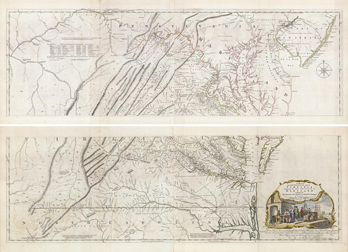 "A Map of the Most Inhabited part of Virginia containing the whole Province of Maryland with Part of Pensilvania, New Jersey and North Carolina. Drawn by Joshua Fry & Peter Jefferson in 1775. Printed for Robt. Sayer at No. 53 in Fleet Street. Copper plate engraving, c.1777. Four-sheet map, joined into two sheets. Overall, if joined, 31 x 48 1/4. LINK.   This important map of Virginia was commissioned by the English Lords of Trade, who in 1750 required each colony to conduct a comprehensive survey. Joshua Fry, a mathematician, and Peter Jefferson, a surveyor and father of Thomas Jefferson, were appointed to execute the commission. The resulting map is highly detailed, giving roads, ferry crossings, settlements and names of many of the rivers and creeks. It is also the first map to depict the general configuration of the Appalachian and Allegheny mountain ranges. The cartouche depicts an image of the Virginia tobacco trade. The map was first issued in 1751. Other editions were done in 1755 onward through 1794. This particular map is from the 1775 edition and likely appeared in Thomas Jefferys' ""The American Atlas."""