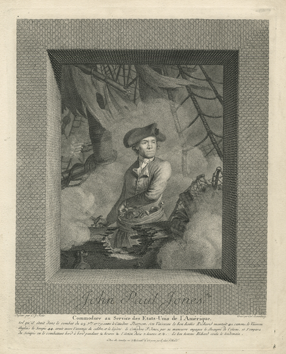 "John Paul Jones. C. J. Notte. Published by  Carl Guttenberg, Paris. Engraving, 1780. Image size 10 11/16 x 9 1/16"", plus publication line and margins. LINK.  Title continues: ""Commodore au Service des Etats-Unis de l'Amerique..."". Engraved by Carl Guttenberg. John Paul Jones( 1747-1792) was an American naval officer, famous for his exploits in British waters during the American Revolution. As captain of the Bonhomme Richard, John Paul Jones fought an epic battle against Captain Pearson's ship Serapis. It is during this battle that he uttered his famous words ""I have not yet begun to fight"". The engraving shows Jones on the deck of ship, dramatically emerging from smoke and musket fire. Although the engraver, Carl Guttenberg, was from Nuremberg, he lived in France and like many French at the time, was deeply connected to the American cause. The French admired Jones for his heroism and celebrated his success, making this print popular not only in America, but France as well."