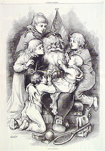 Merry Christmas. Thomas Nast. Published in Harper's Weekly. Wood engraving, 1879. Vignette 20 x 13 1/2. LINK.