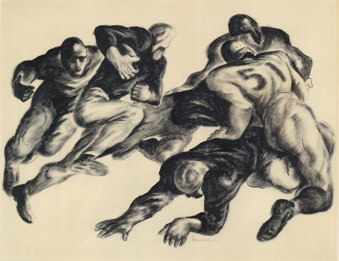"Short Gain. Benton Murdoch Spruance. Drybrush drawing, c.1935. Signed in pencil, center right ""Spruance."" Image size 13 x 18 1/4"" (331 x 464 mm). LINK."