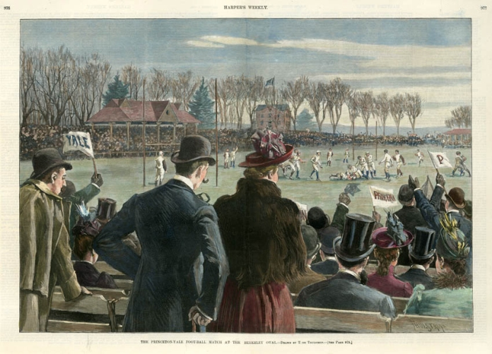 "The Princeton Yale Foot-Ball Match at the Berkeley Oval. T. de Thulstrup. Published by Harper's Weekly, New York. Wood engraving, Dec. 7, 1889. Image size 13 1/2 x 19 1/2"" (345 x 496 mm.). LINK."
