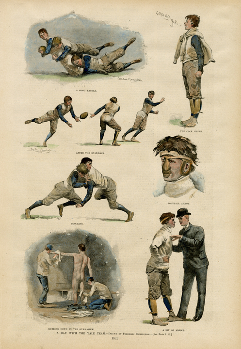 "A Day With the Yale Team. Frederic Sackrider Remington. Harper's Weekly, New York. Photoengraving, hand colored, 1893. Seven vignettes of football players. Image size 13 7/8 x 8 1/2"" (353 x 218 mm). LINK."