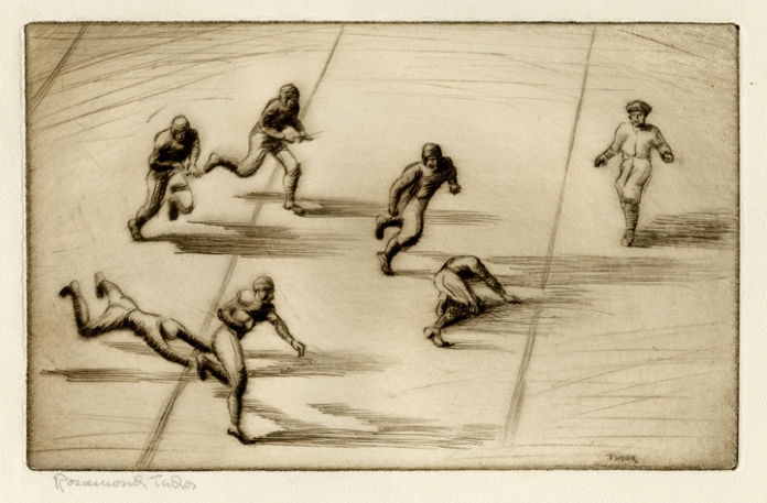 "Missing the Tackle. Rosamond Tudor. Sepia etching, c. 1930. Image size 6 3/4 x 10 3/4"" (173 x 273 mm)."