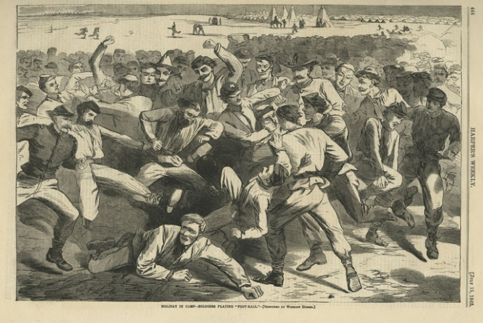 "Holiday in Camp - Soldiers Playing ""Foot-Ball"". Winslow Homer. Published by Harper's Weekly, New York. Wood engraving, Jul. 15, 1865. A football scrimmage turned melee. Image size 9 1/4 x 13 3/4"" (234 x 349 mm). LINK"