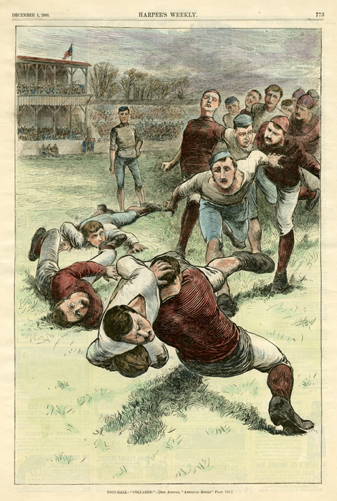"Foot-Ball - ""Collared"". [football]. Published in Harper's Weekly, New York. Wood engraving with modern handcoloring, Dec. 1, 1883. Good condition and color. LINK."