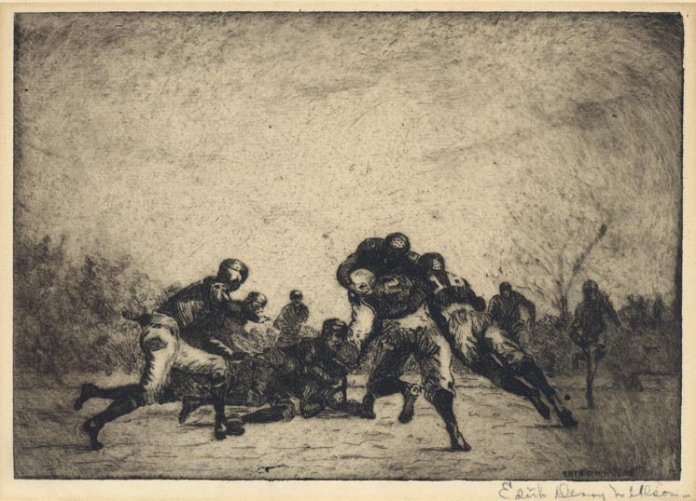 "Football (untitled). Edith Derry Willson. Etching, softground, c. 1940. Image size 7 x 9 15/16"" (178 x 252 mm)."