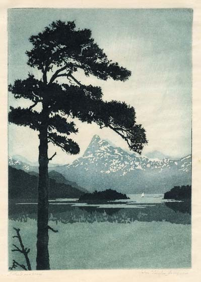 "Dawn, Lake Como. John Taylor Arms. Etching and aquatint printed in color, 1920. Image size 7 1/8 x 5 1/8"" (181 x 130 mm). Edition of 100 in color. LINK."