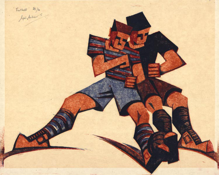 "Football. Sybil Andrews.  Four-color linocut, 1937. Edition 60. Image size 9 3/8 x 12 1/2"" (237 x 317 mm). LINK."