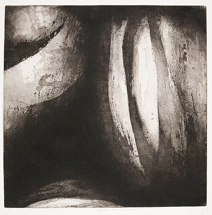 "Beyond the Silence (3) by Takamune Ishiguro. Aquatint, 2008. Image size 23 5/8 x 23 5/8"" (600 x 601 mm). Edition 5. Signed, titled, and dated in pencil. LINK."