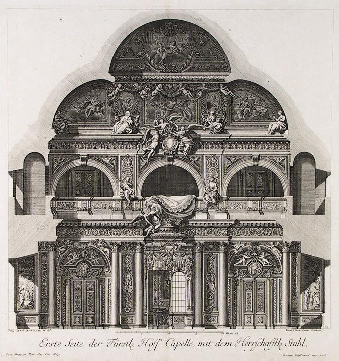 Erste   Seite der Furstle Hoff Capelle, mit dem Herrfchafftle Stuhl. By Paul Decker.