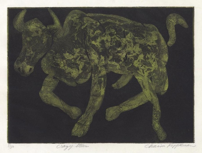 Crazy Steer. Chaim Koppelman. Two plate color etching and aquatint, 1965. Edition 30. LINK.
