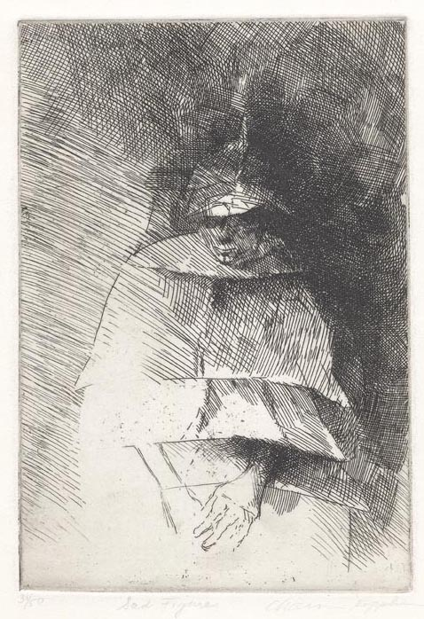 Sad Figure. Chaim Koppelman. Etching, 1956. Edition 50. LINK.