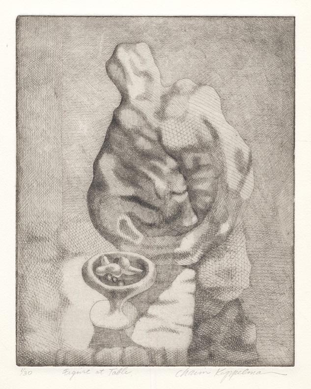 Figure at Table.  Chaim Koppelman. Etching, 1946. Edition 30. LINK.