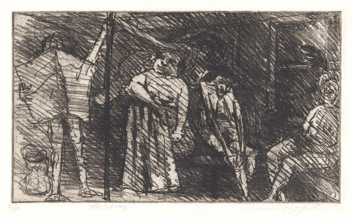 The Subway. Chaim Koppelman. Soft ground etching, 1962. Edition 30. LINK.