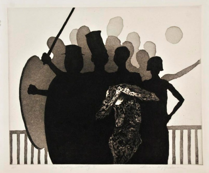 On Meeting Beauty II. Chaim Koppelman. Aquatint, 1958. Edition 200. A/P. LINK.