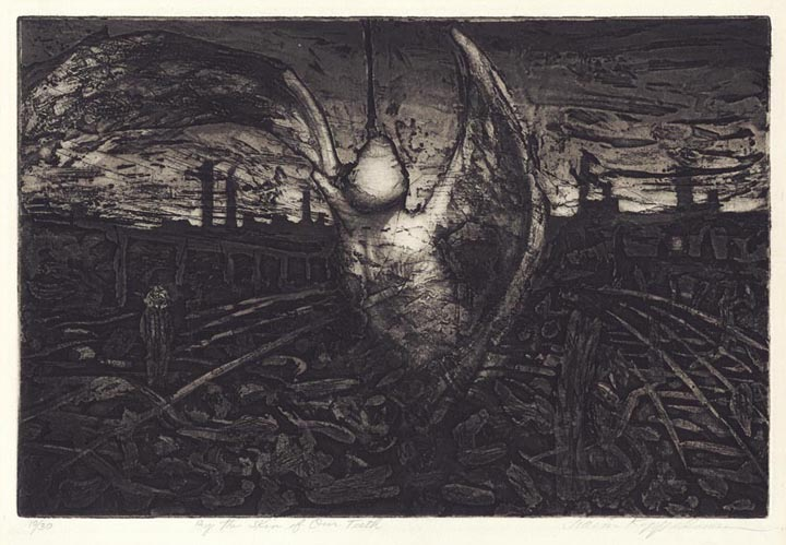 By the Skin of Our Teeth. Chaim Koppelman. Etching and aquatint, 1962. Edition 30. LINK.