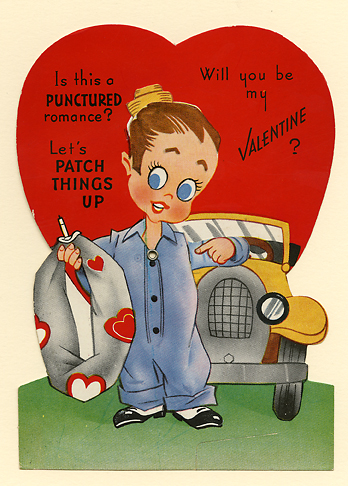 "Loving Thoughts. Published by A-Meri-Card. Made in U.S.A. L-198. Die-cut color lithograph, Undated. c.1925.  This Valentine features a mechanic holding a a flattened tire with hearts on it. Move his and his eyes and pointing hand move too. Written on verso, ""To James H. From Mary N."" Image size 6 1/8 x 4 3/8 inches. LINK."