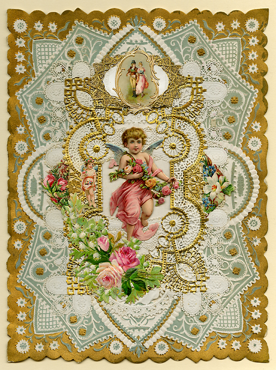 Have I not told my love to thee? A love that e'er will constant prove... Paper lace, c.1890. This beautiful Valentine features two layers of paper lace on top of an embossed golden card. The top most layer contains a charming piece of gold and white paper lace with chromolithograph appliques attached above and below it. A large chromolithograph applique of a cherub rests delicately in the center. Inside is a delightful illustration, resembling an old European castle, wrapped around the poem. Image size 10 x 7 3/8 inches. LINK.