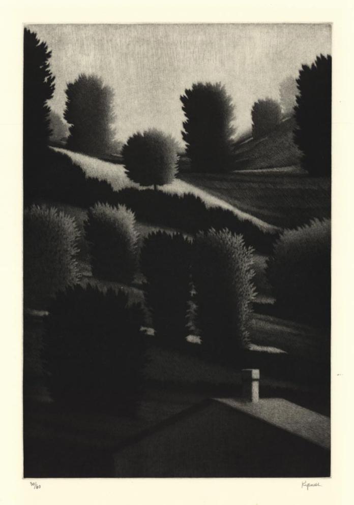 """Sentinels. Robert Kipniss. Mezzotint, 1992. Editon 60 + 10 ap. Image size 13 13/16 x 9 1/4"""" (350 x 234 mm)."""