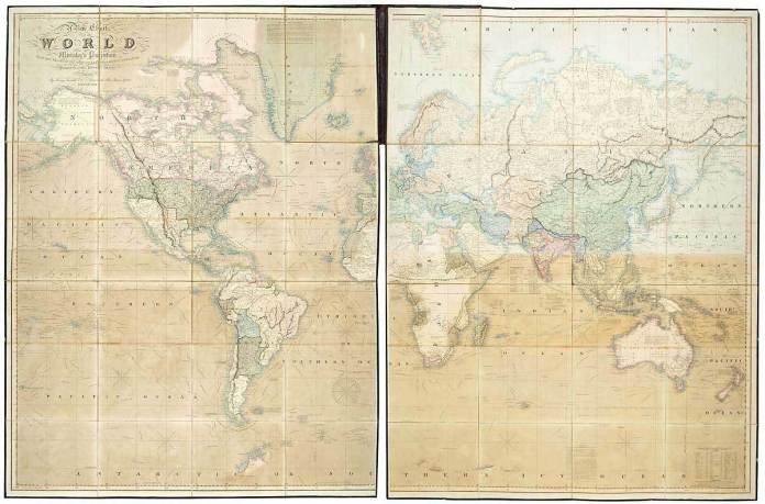 A New Chart of the World on Mercator's Projection with the Tracts of the Most Celebrated & Recent Navigators. By Henry Teesdale.  Handcolored engraving,1844.