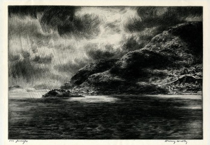 "Storm in the Mountains. Harry Wickey. Drypoint, 1935. Edition 100. Image size 8 7/8 x 12 3/4"" (223 x 324 mm)."
