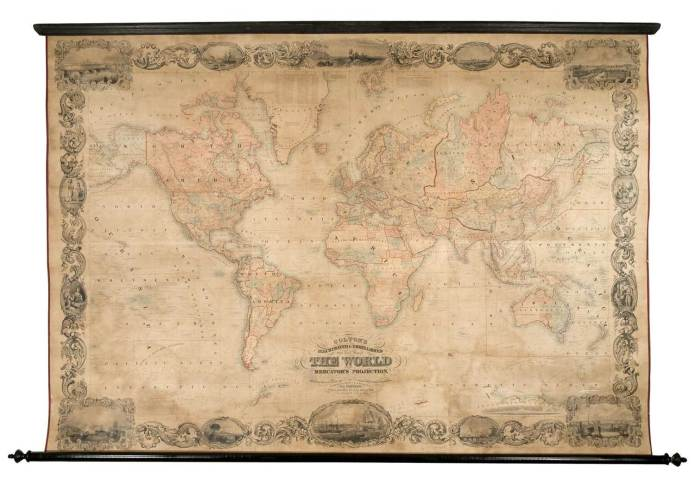 Colton's Illustrated & Embellished Steel Plate Map of the World on Mercator's Projection, compiled from the latest & most authentic sources.  By D. Griffing Johnson. Steel plate engraving, 1848-53.