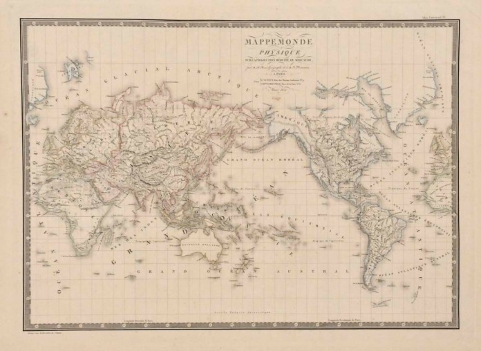 Mappemonde Physique sur la Projection de Mercator. By Adrien Hubert Brue.  Engraving, 1821.