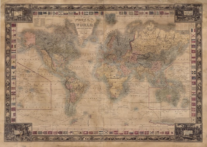 Map of the World on Mercators Projection. By John Atwood. Engraving, 1841-45.