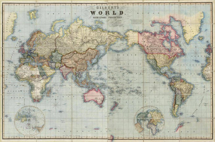 Gilbert's Map of the World, on Mercator's Projection. By James Gilbert. Segmented case map, engraving, 1841.