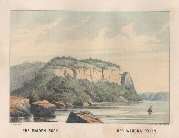 "The Maiden Rock. Henry Lewis. Lith. Jnst. Arnz & Co. Dusseldorf. Multi-stone lithograph, 1854-57. Image 5 3/8 x 7 3/4"" (137 x 196 mm) plus title and margins. Printed by C. H. Muller.  Aachen. LINK."
