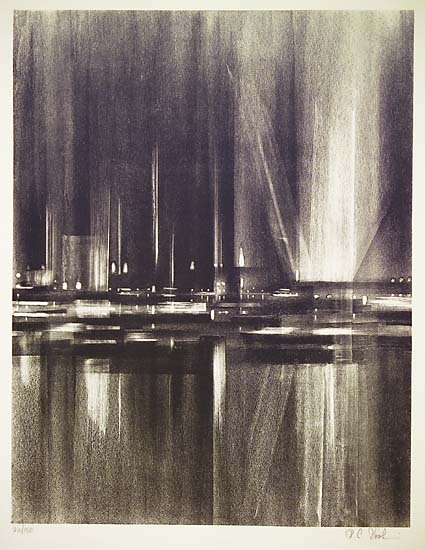 "Illuminations.  Richard Florsheim. Lithograph, 1959. Commissioned by the Print & Drawing Club of the Art Institute of Chicago.  Image size 17 13/16 x 13 7/8"" (452 x 352 mm). Edition 180. LINK."