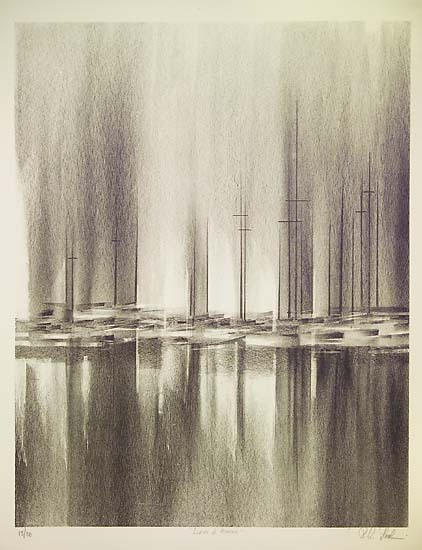 "Light and Water.  Richard Florsheim. Lithograph , 1959.  Image size 17 3/4 x 13 7/8"" (450 x 353 mm).  Edition 30. LINK."