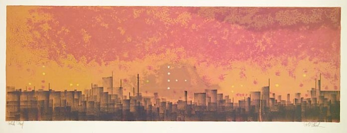 "City Morning. (City Halo). Richard Florsheim. Published by Associated American Artists. Color lithograph, 1964. Image size 10 1/4 x 29 1/2"" (259 x 749 mm). Edition 250.  LINK."