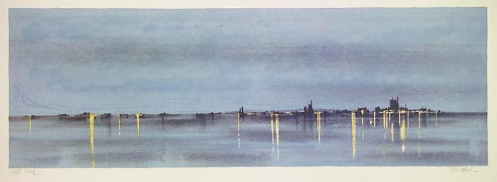 "City Lights. Richard Florsheim. Published by Associated American Artists.  Color lithograph, 1965. Image size 10 1/16 x 29 13/16"" (255 x 758 mm). Edition 250 + 33 a.p. LINK."