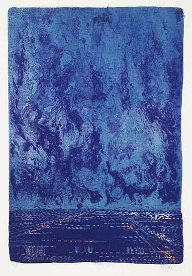 "Dark City. Richard Florsheim. Color lithograph,  1967. Image size 20 11/16 x 22 1/2"" (409 x 571 mm). Edition 50. LINK."